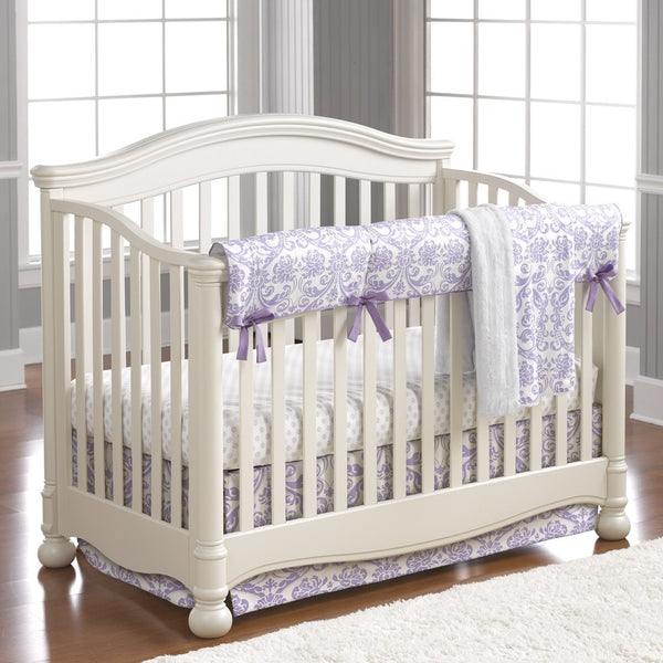 Abigail Lavender Damask Crib Bedding - liz-and-roo-fine-baby-bedding.myshopify.com - 1