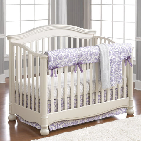 Abigail Lavender Damask Bumperless Crib Bedding