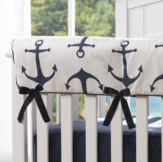 Navy Anchors Crib Rail Cover - Second - liz-and-roo-fine-baby-bedding.myshopify.com