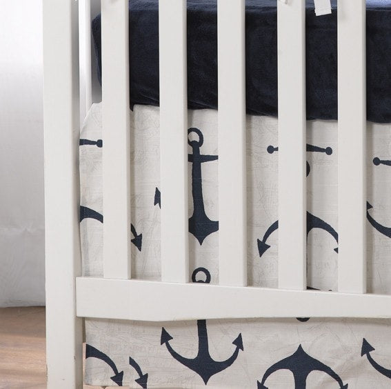 "Navy Anchors Crib Skirt 17"" Drop - liz-and-roo-fine-baby-bedding.myshopify.com"