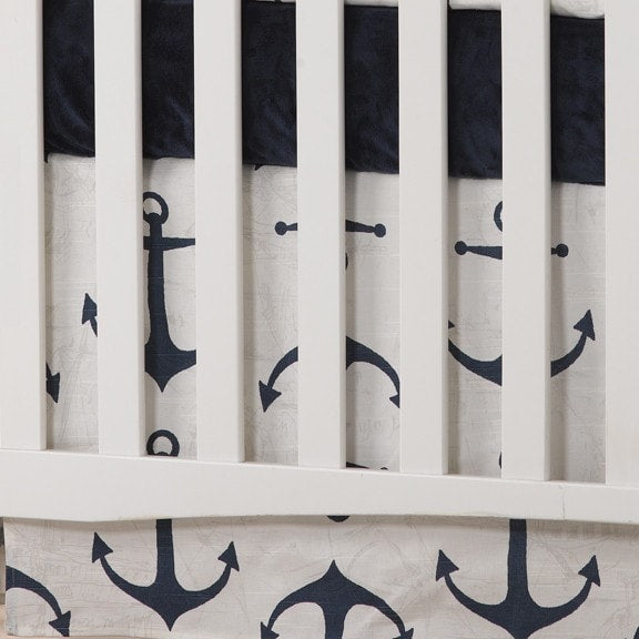 Navy Anchors 2-pc. Crib Bedding - liz-and-roo-fine-baby-bedding.myshopify.com