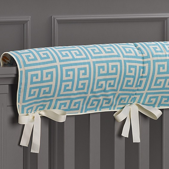 Aqua Greek Key/Mandarin (Orange and Aqua) Reversible Crib Rail Cover - liz-and-roo-fine-baby-bedding.myshopify.com - 1