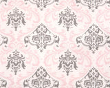 Bella Damask (Pink and Gray) Window Treatments - liz-and-roo-fine-baby-bedding.myshopify.com - 2