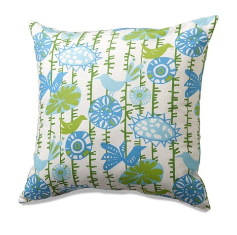 Birds on a Vine (Blue and Green) Throw Pillows