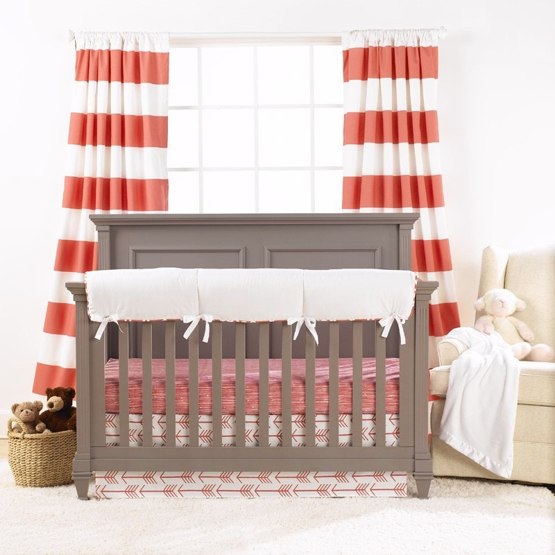 Cabana Stripe Curtains - Coral - liz-and-roo-fine-baby-bedding.myshopify.com