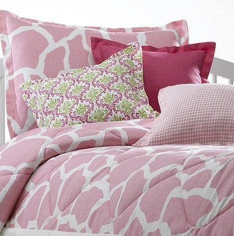 Pink Giraffe Bedding Set (Twin) - liz-and-roo-fine-baby-bedding.myshopify.com - 1