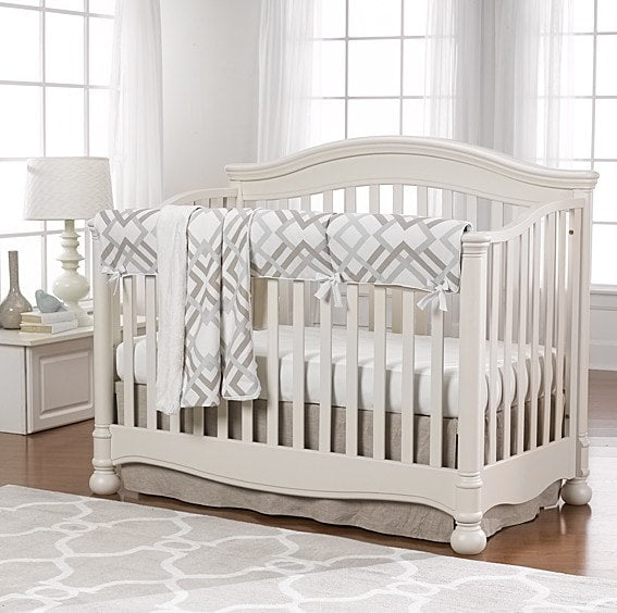Easton Linens (Gray, Taupe and Seafoam) Bumperless Crib Bedding - liz-and-roo-fine-baby-bedding.myshopify.com