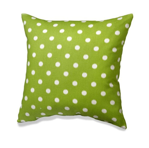 Chartreuse Green Ikat Dot Pillows