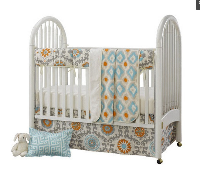 Mandarin Damask (Orange and Aqua) 4-pc. Crib Bedding Set with Free Baby Pillow Sham - liz-and-roo-fine-baby-bedding.myshopify.com - 1