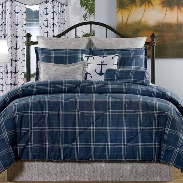 Navy Plaid Bedding Set (Twin, Full, Queen) - liz-and-roo-fine-baby-bedding.myshopify.com