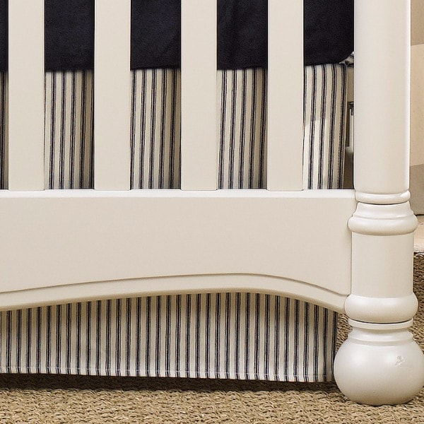 "Canvas/Navy Ticking Stripe Crib Skirt 17"" Drop - liz-and-roo-fine-baby-bedding.myshopify.com"