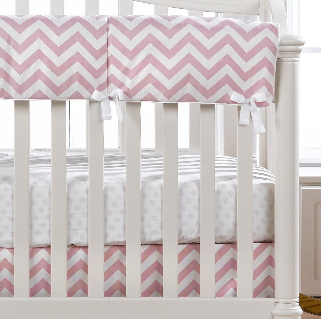 Pink Chevron Crib Rail Cover - liz-and-roo-fine-baby-bedding.myshopify.com