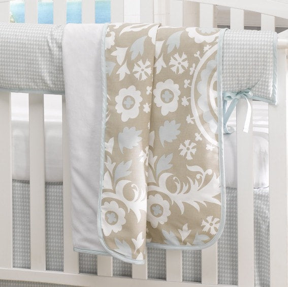 Taupe Suzani Minky Receiving Blanket - liz-and-roo-fine-baby-bedding.myshopify.com - 1