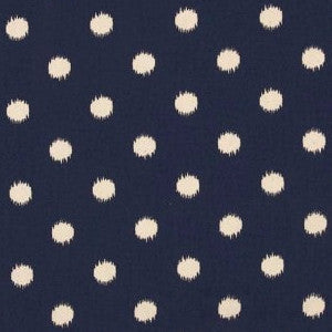 Premier Navy Ikat Dot Natural Fabric - liz-and-roo-fine-baby-bedding.myshopify.com