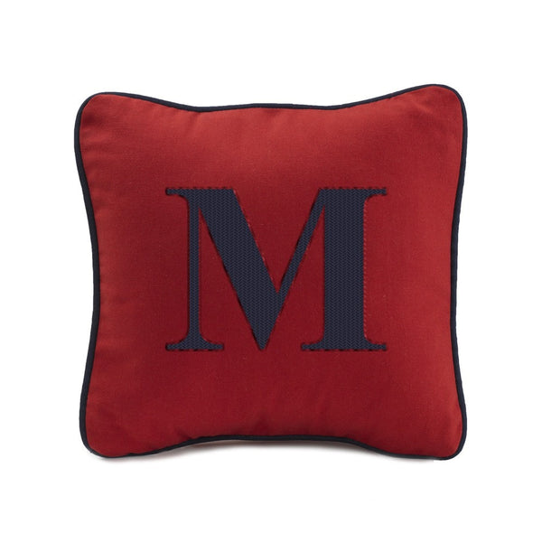 "Red Pillow Sham with Navy Cording (13"" Square) - liz-and-roo-fine-baby-bedding.myshopify.com - 1"