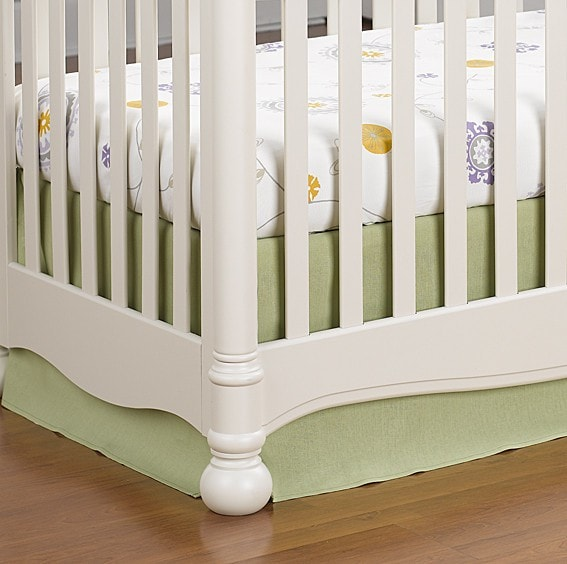 "Sweet Pea Linen Crib Skirt 16"" Drop - liz-and-roo-fine-baby-bedding.myshopify.com"