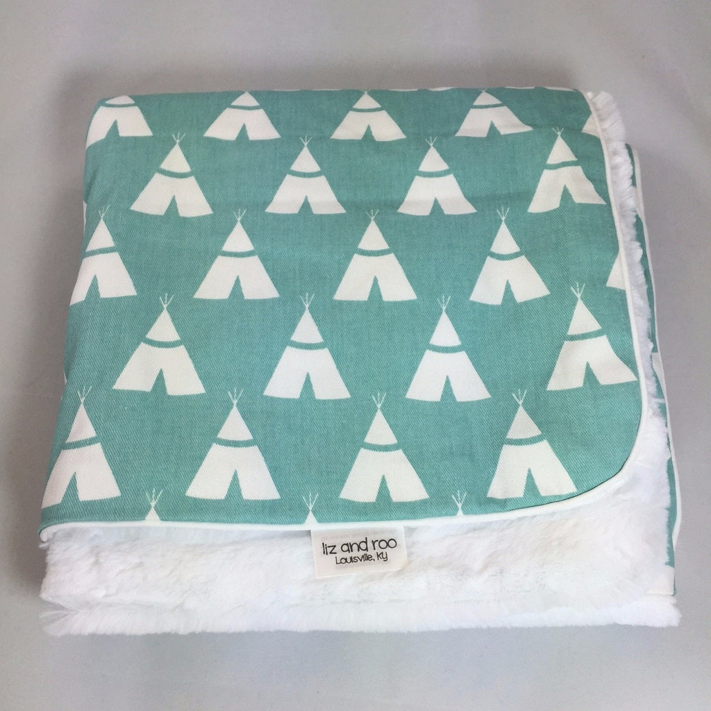 Canal Teepee Minky Receiving Blanket - liz-and-roo-fine-baby-bedding.myshopify.com