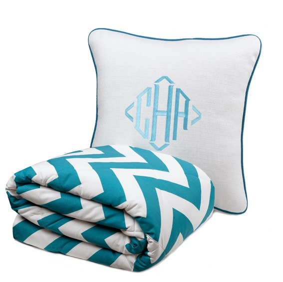 Wide Turquoise Chevron Bedding Set (Twin) - liz-and-roo-fine-baby-bedding.myshopify.com - 1