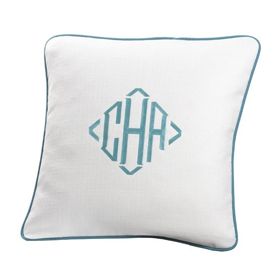 White Weave Euro Sham with Turquoise Trim - liz-and-roo-fine-baby-bedding.myshopify.com - 1