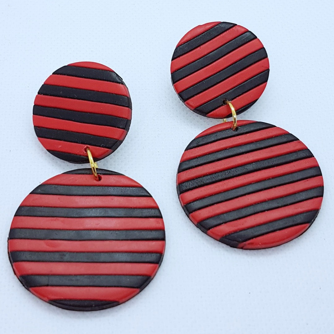 Delilah Earrings - Black and Red