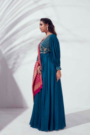 Teal angrakha with traditional dupatta