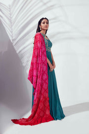 Elephant sleeve with bandhani dupatta