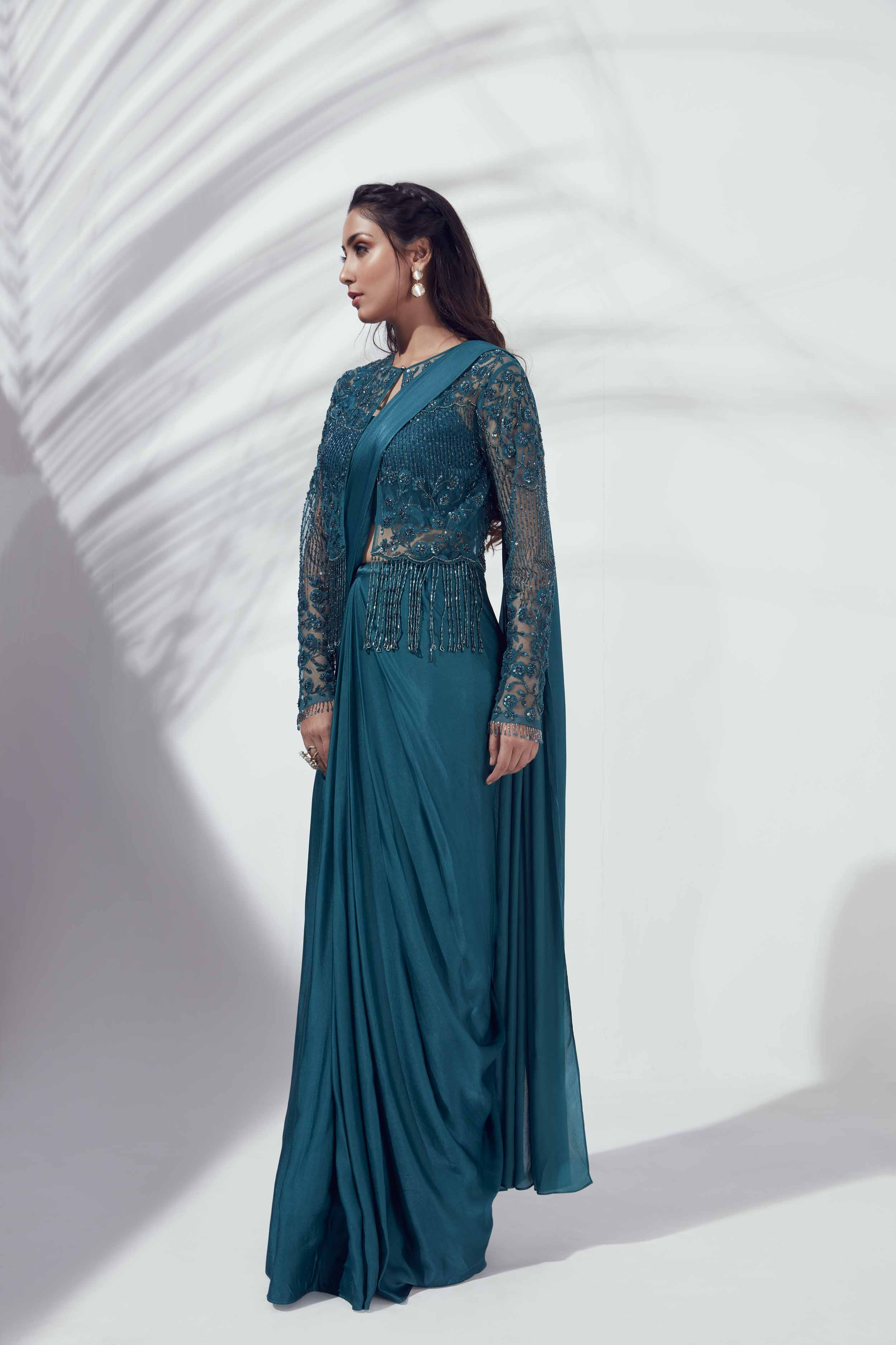 Teal pre draped saree
