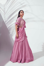 Lilac feather lehenga