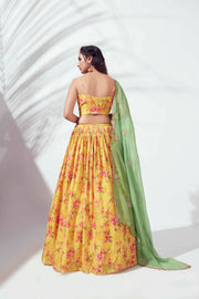 Yellow floral printed lehenga