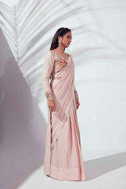 Pink floral jacket saree