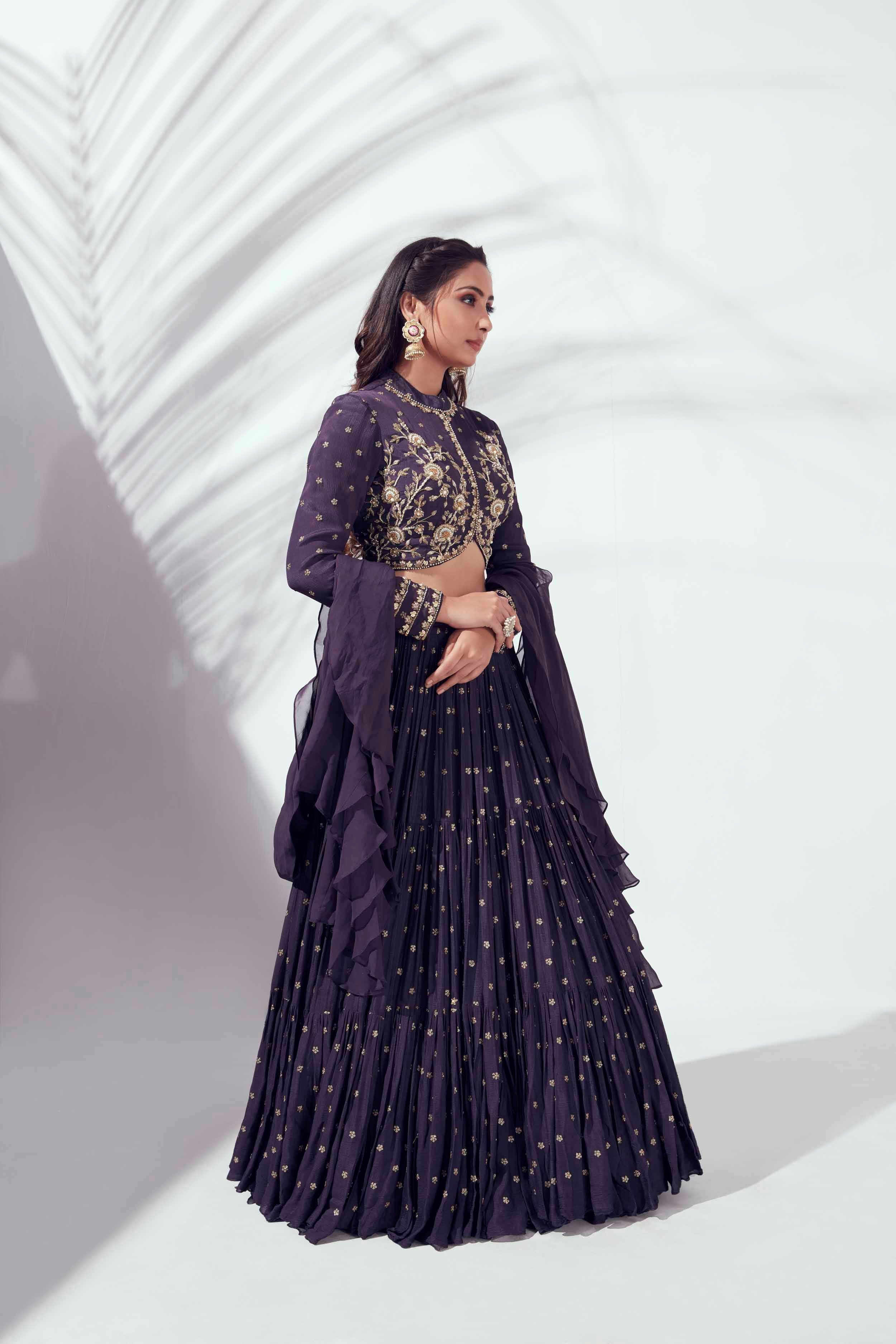 Three layer grey lehenga