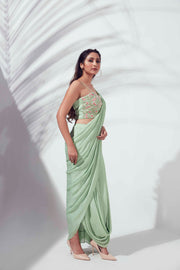 Green skirt saree