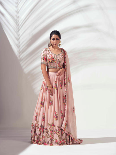Pink multi color lehenga