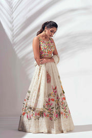 Ivory Lehenega with multicolor thread