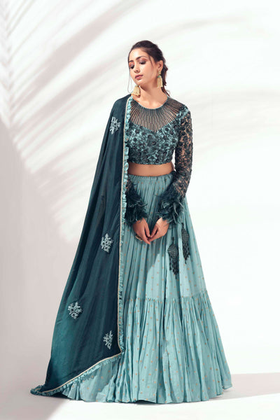 Green self embroidered lehenga