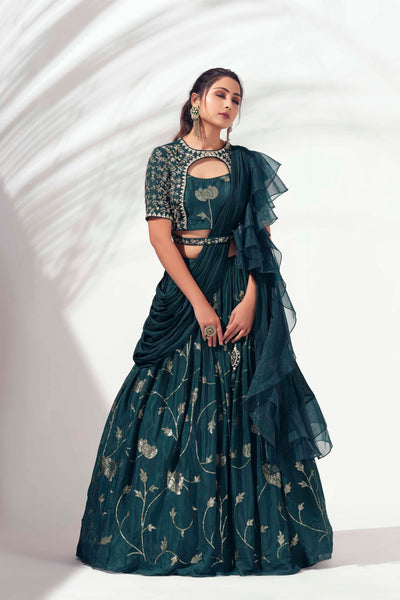 Bottle green drape lehenga