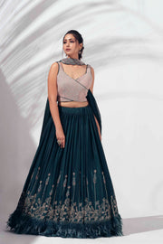 Bottle green feather lehenga