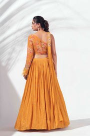 Mustard one shoulder lehenga