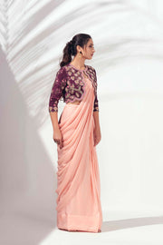 Wine shrug - predraped saree