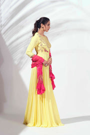 Yellow anarkali with bandhani dupatta