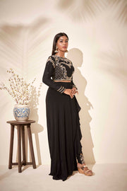 Drape skirt with embroidered pant