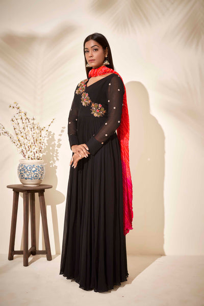 Black flared anarkali with bandhani dupatta