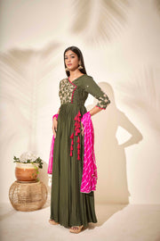 Olive Angrakha with Leheriya dupatta