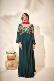 Bottle green Anarkali with Bandhani dupatta