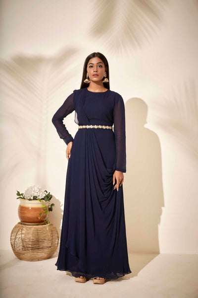 Navy blue drape dress
