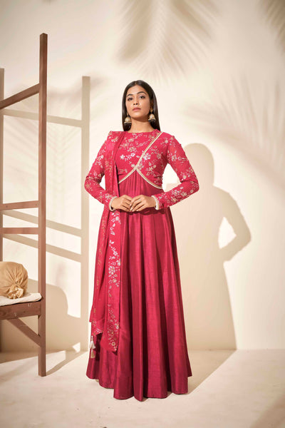 Cherry red Anarkali set