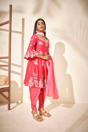 Pink peplum suit with dhoti pants