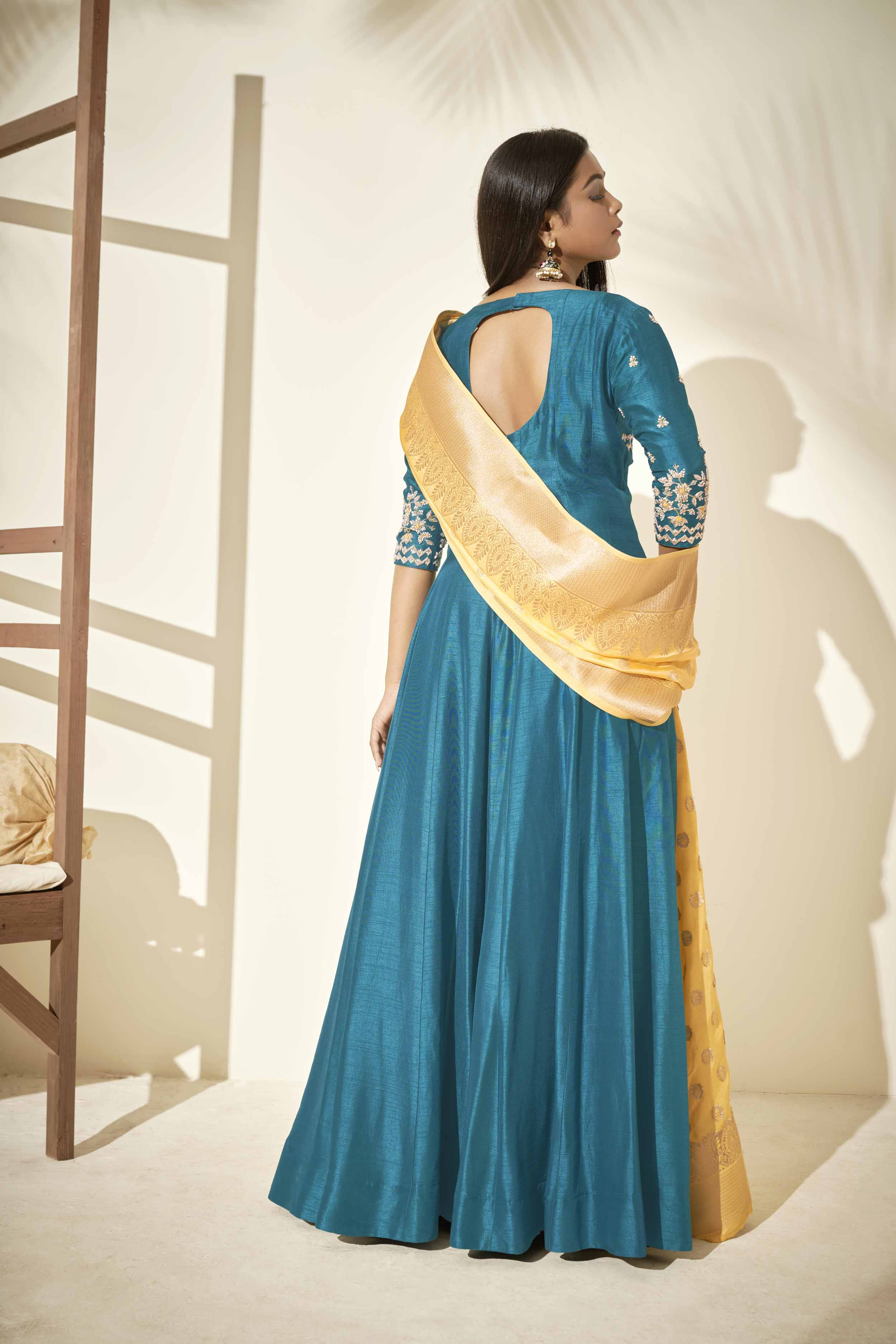 Teal Anarkali with Banarasee dupatta