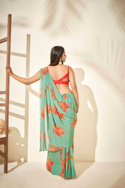 Green floral saree