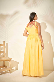 Incut yellow dress